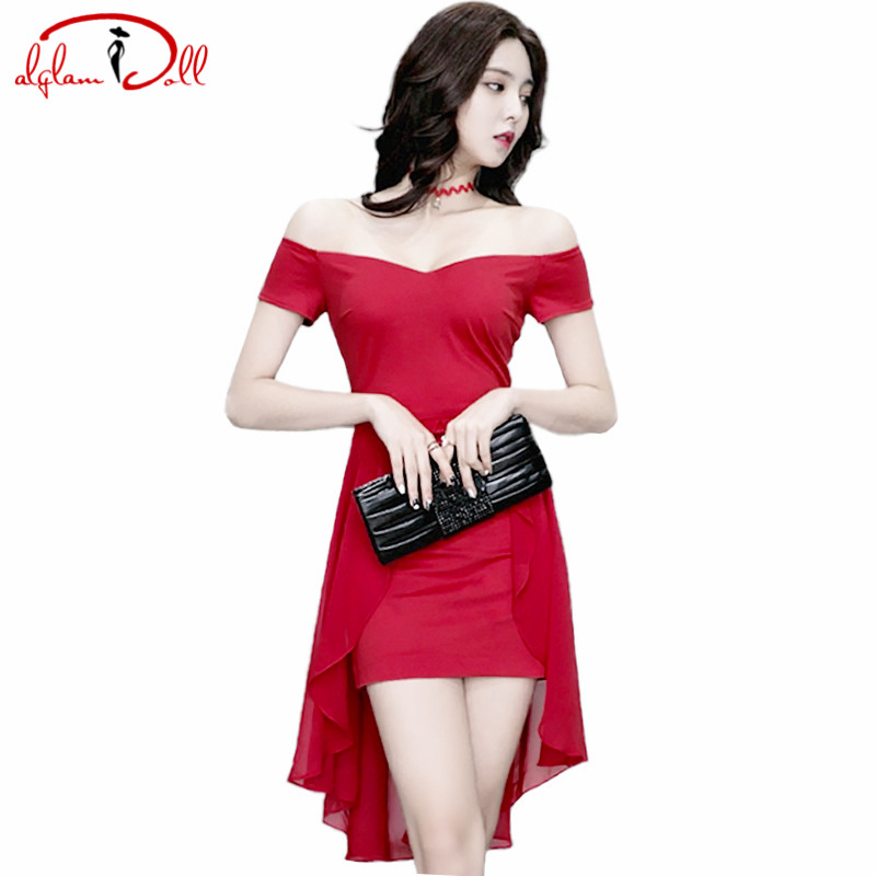 Off Shoulder Sexy Bodycon Vestidos Chiffon Patchwork Strapless Cocktail Solid Mini Club Dresses 2017