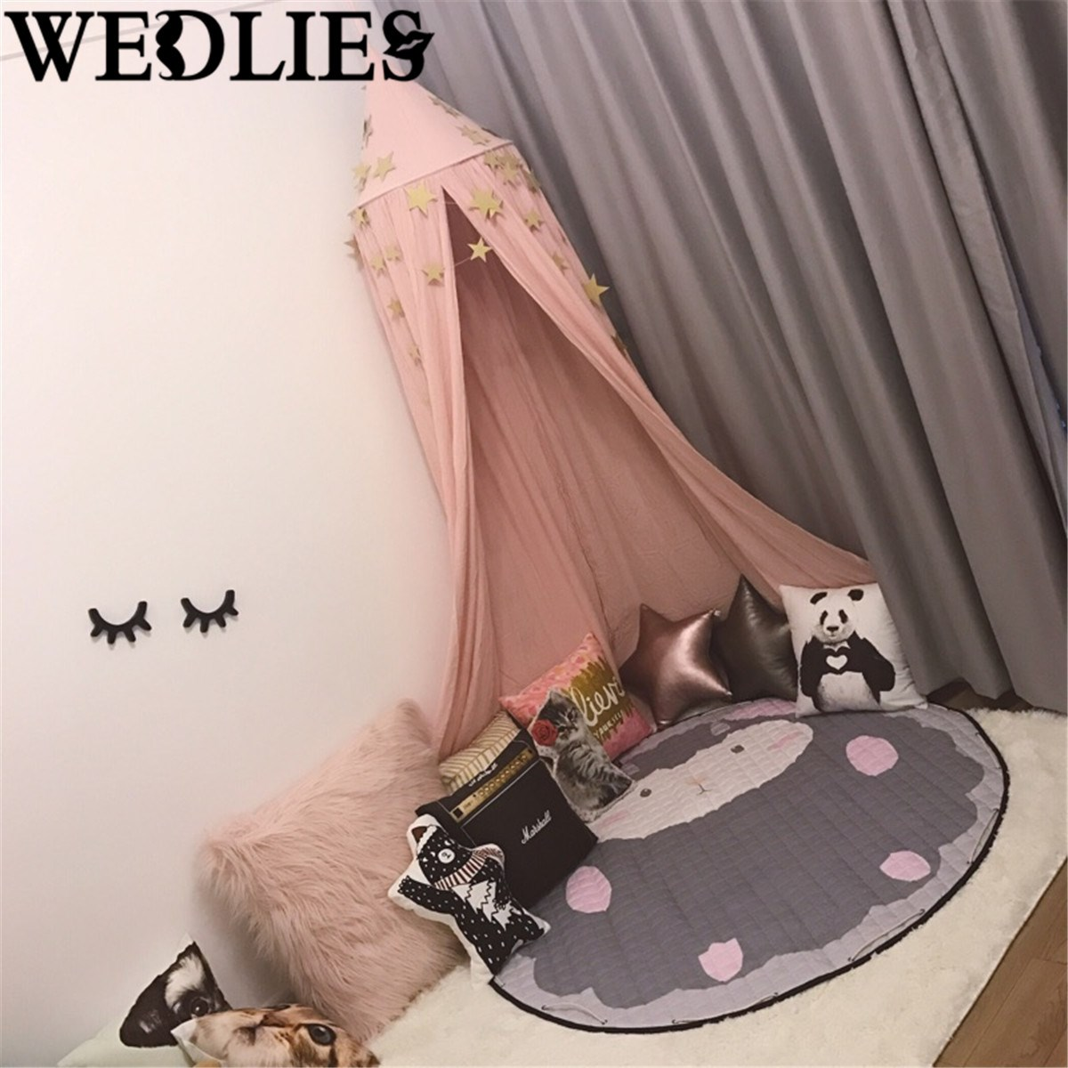 Baby bed online shopping - Pink Lovely Cotton Canopy Bed Netting Mosquito Net Baby Kids Reading Play Tents Bedding Valance Mantle
