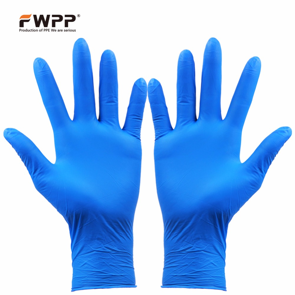 FWPP Disposable Nitrile Surgical Gloves Heavy Duty Textured Powder Free Latex Free, Hypoallergenic Pack of 100 Pcs,Indigo new safurance 100x industrial disposable nitrile latex gloves powder free small medium large workplace safety