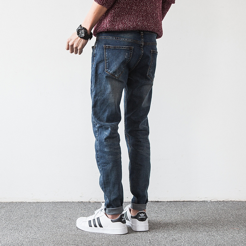Aliexpress.com : Buy Korean Slim Fit Jeans Men Pants Scratched ...