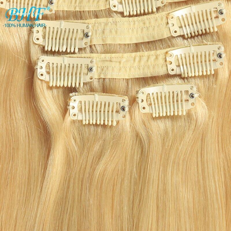 #613 Color 140g 20 8pcs/set blonde clip in human hair extensions mega hair cabelo humano virgin hair clip ins
