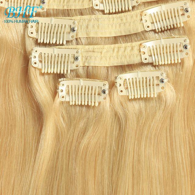 """#613 Cor 140g 20 """"8 pçs/set mega cabelo cabelo humano clipe loira em extensões de cabelo humano virgem grampo de cabelo ins"""