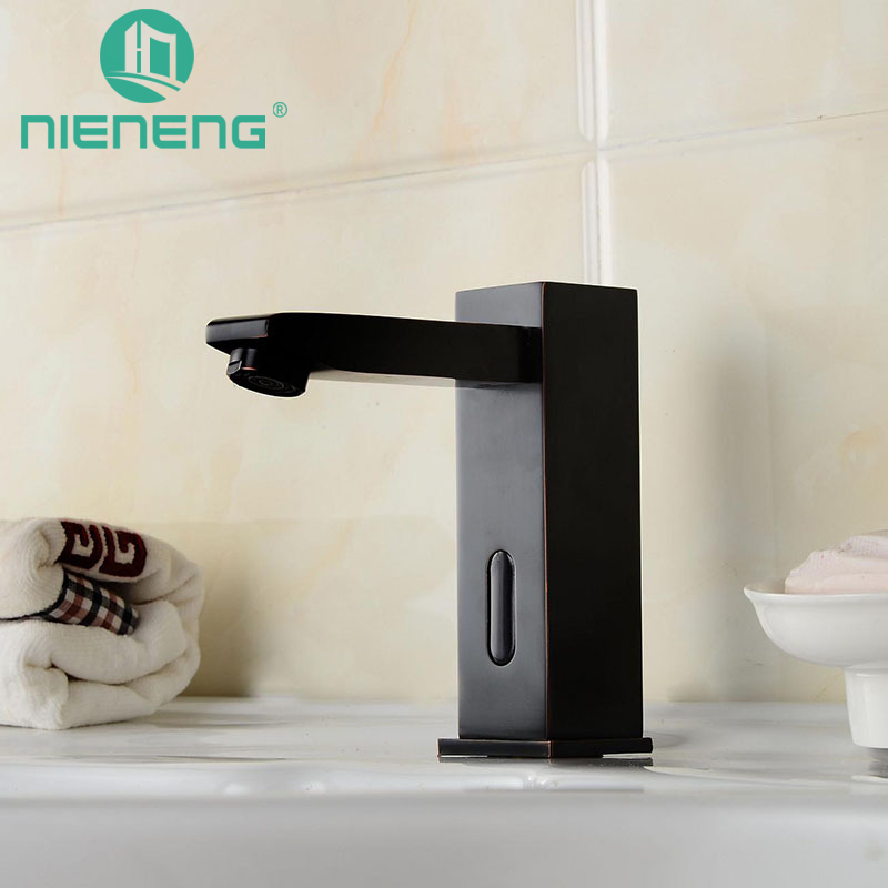 Nieneng Sensor Faucets Black Bathroom Sink Faucet Cold Water Basin Mixer Restaurant Tap Automatic Hospital Taps Fitment Icd60245 In From Home