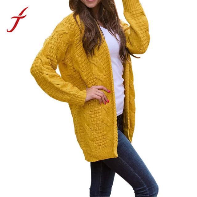 5c22e4a66d Feitong Women s Long Sleeve Knitwear Open Front Cardigan Sweaters Casual  Outerwear 2018 Winter Yellow Jacket women veste femme