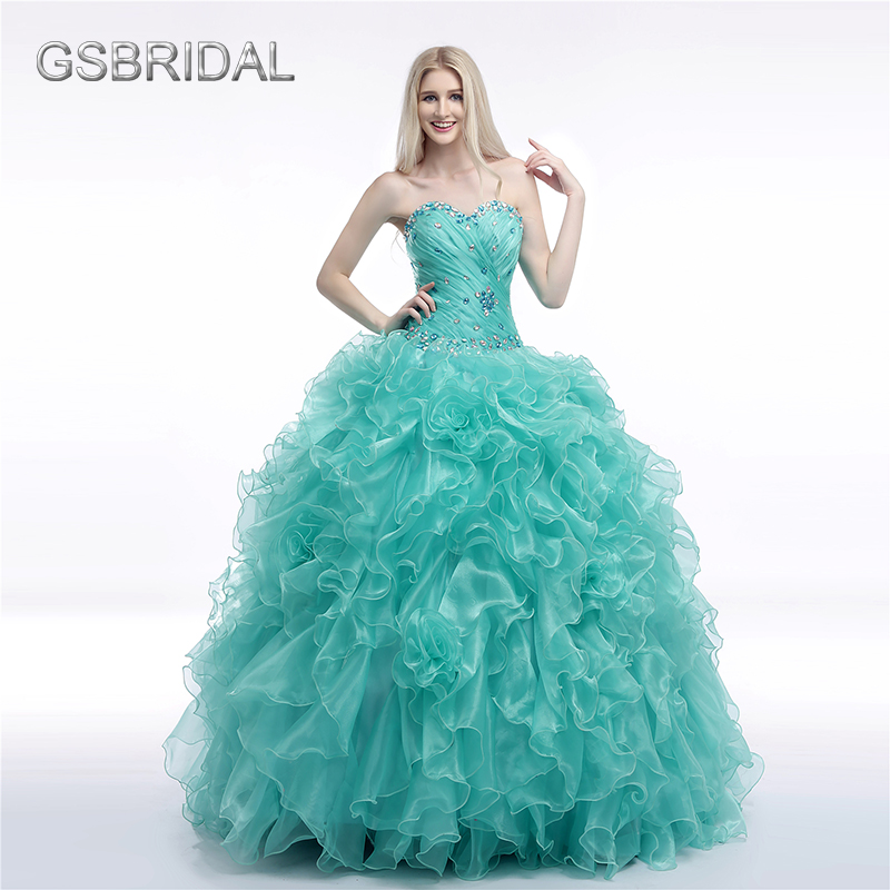 GSBRIDAL Light Blue Sweetheart Ruffles Back Lace Up Ball Gown ...