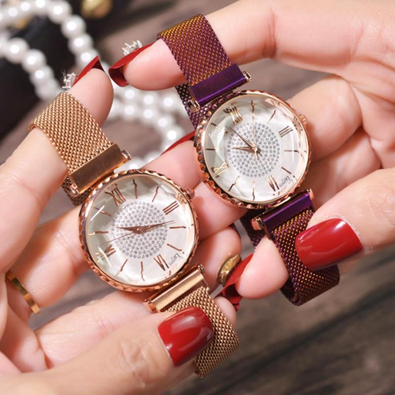 Luxury Crystal Women Bracelet Watch 2019 Fashion Diamond Ladies Magnet Steel Mesh Clock Casual Waterproof Female Wristwatch Gift(China)