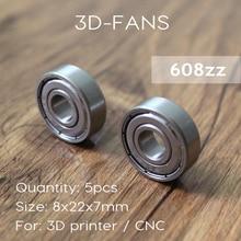5 PCS ABEC-7 Derin groove rulman 608ZZ 8X22X7mm rulman çelik 608 ZZ pateni rulman 3D için yazıcı