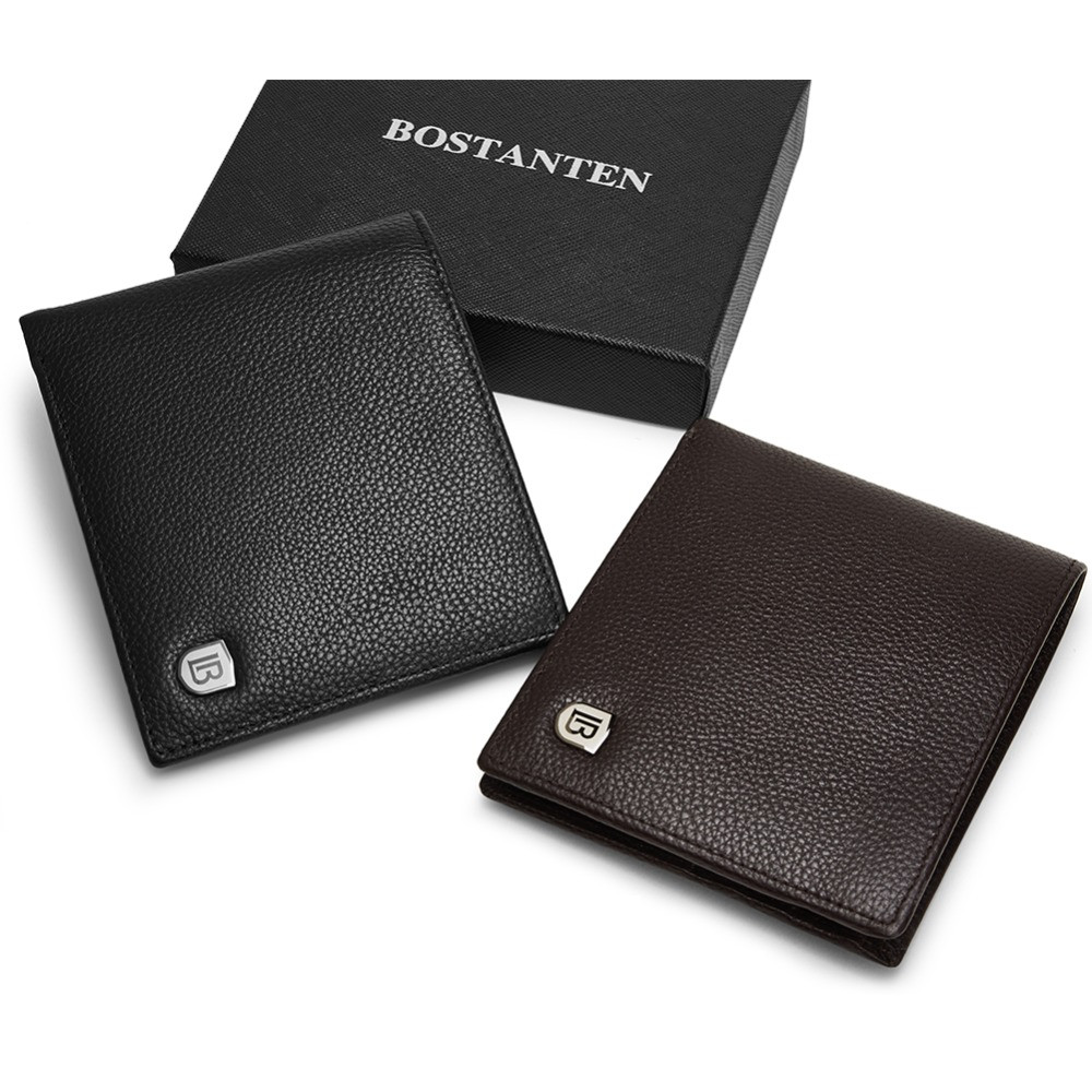 BOSTANTEN Genuine Leather Men RFID Wallets With Box Short Purse Vintage Luxury Handmade Wallet Male Top Cow Leather Money Case