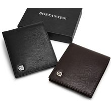 BOSTANTEN Genuine Leather Men RFID Wallets With Box Short Purse Vintage Luxury Handmade Wallet Male Top Cow Leather Money Case(China)