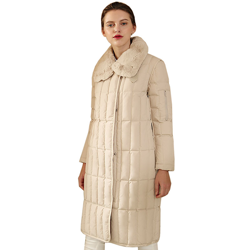 New Women Winter Long   Down     Coat   Fur Collar Female 90% white Duck Parkas Jacket Thick Warm Elegant   Down     Coats   women Slim Jacket