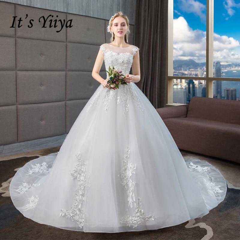 It's YiiYa Wedding Dresses 2019 Beading O Neck Elegant