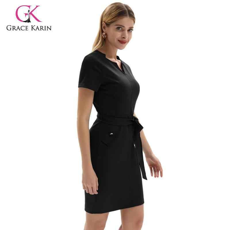 グレースカリン女性エレガントなオフィスドレス無地 V ネック女性スリムスーツドレス夏のビジネス作業鉛筆ブレザードレス