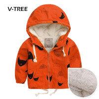 V TREE Autumn Winter Boys Jacket Coat Fleece Outwear Warm Jacket For Boy 2 Colors Kids