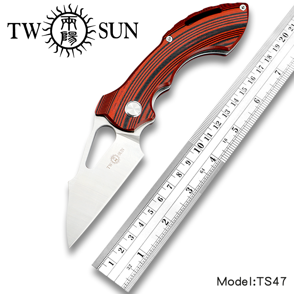 TWOSUN D2 blade Folding Pocket Knife tactical knife Survival knives camping outdoor EDC ball Bearings Fast