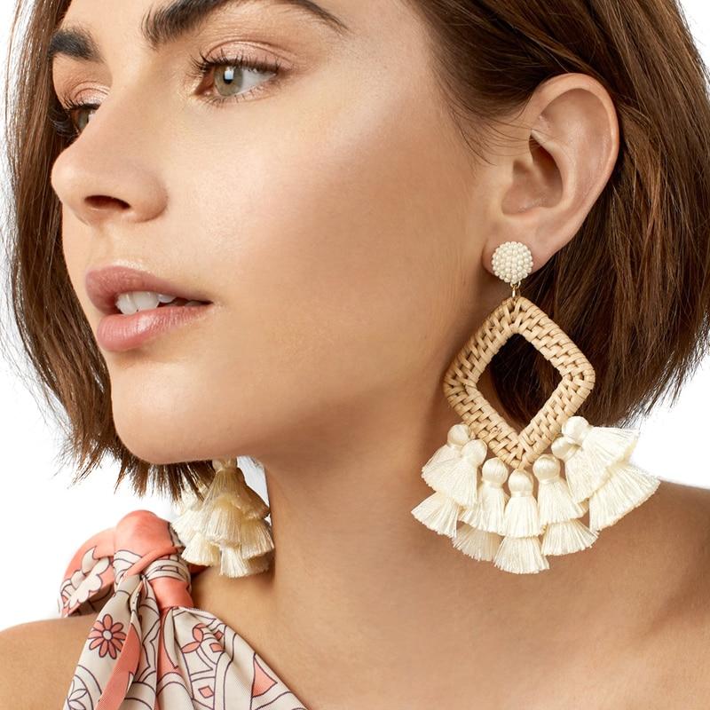 JUJIA 6 colors tassel earring good quality fashion design weave long statement drop Earrings for women faux diamond metal fringe statement drop earrings
