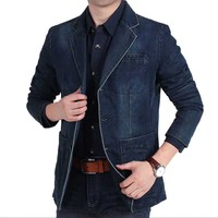 New Fashion Denim Blazer Jacket Men Business Casual Slim Fit Suit Blazer Jeans Coat Office Party Military Vintage Blazer Cotton