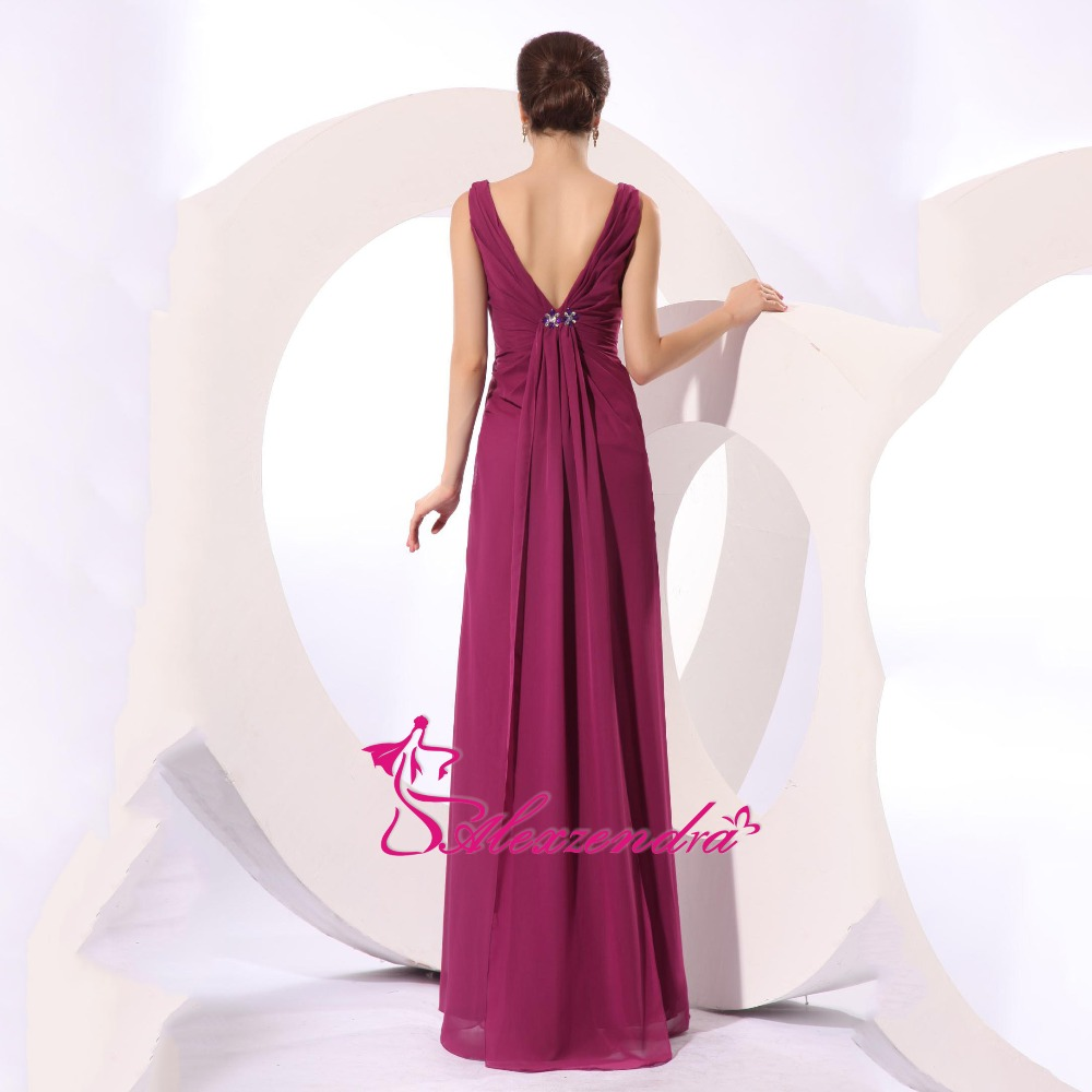 Alexzendra A Line Chiffon Double V Neck Prom Dresses Evening Gown Natural Waist Floor Length Special Party Gowns