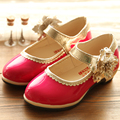 2016 New Arrival Spring&Autumn Girl's Sweet Flower High-heeled Fashion Patent Leather Shoes Kid's Princess Single Shoes