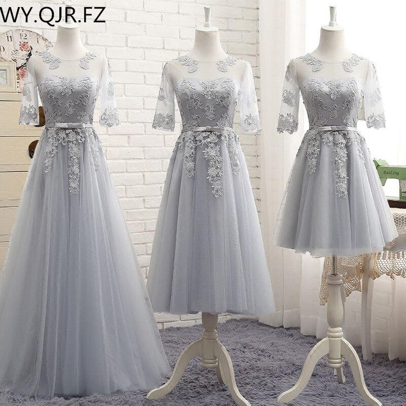 MNZ-M808#Three Styles Of Long Medium Short Grey Half Sleeve 2019 Spring Lace Up Bridesmaid Dresses Wedding Prom Party Dress Girl