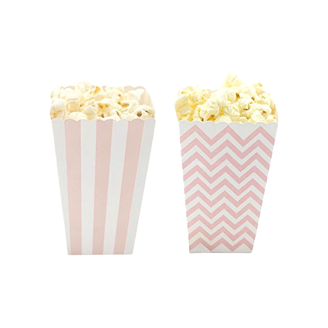 12pcs Popcorn Box Pink Stripes Dot Gold Gift Box Birthday Party Party Favor Wedding Pop Corn Kid Party Decoration Bags Loot