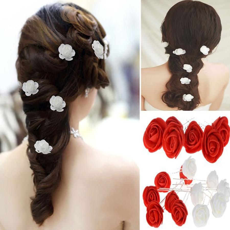 Women Hair Clip Pins Bridal Rose Flower Hairpin Barrettes Wedding Party