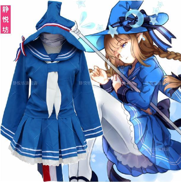 Wadanohara et la grande mer bleue Cosplay Costume bleu marin uniforme ensemble complet hauts + jupe + cravate + chapeau + cou accessoire