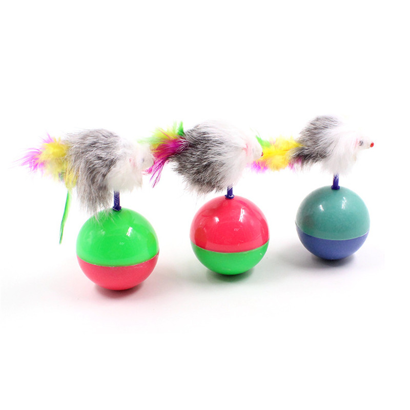 Durable Pet Cat Kitten Toy Mini Favorite fur Mouse Funny Cat Kitten Play Dolls Tumbler Ball Pet Cat Toys Interactive Feather Toy