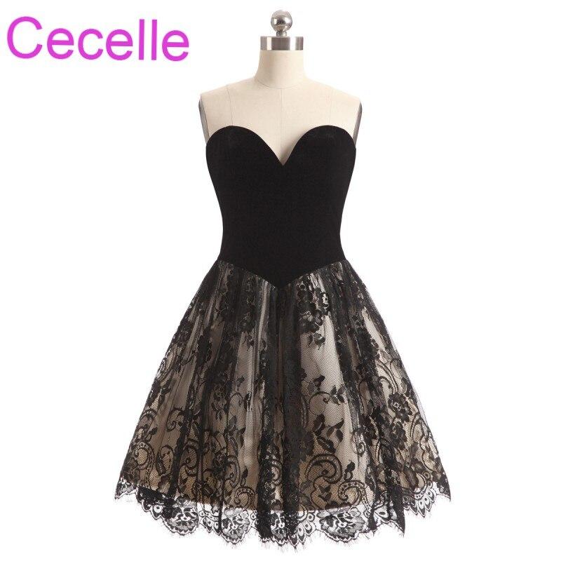 Vintage Black Velour Short   Cocktail     Dresses   2019 Sweetheart A-line Teens Informal   Cocktail   Party   Dresses   Short Prom   Dress   Sale
