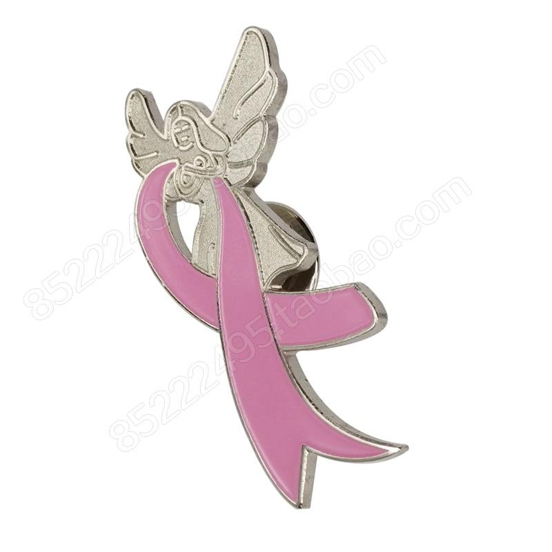 Breast Cancer Awareness Angel Wing Pink Ribbon Lapel Pins
