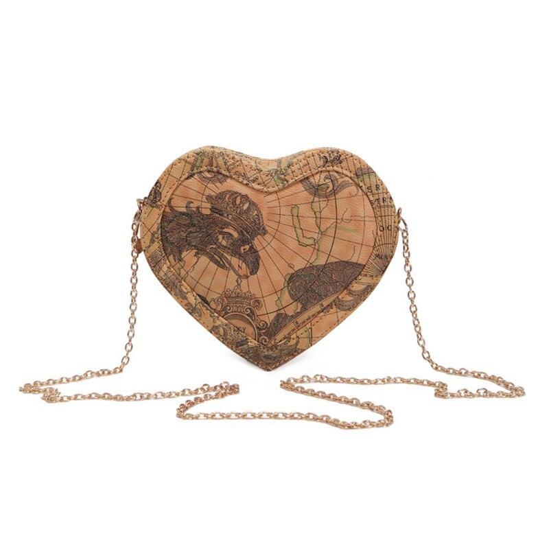 New Fashion Women Messenger Heart Shape Lovely World Map Printed Ladies Handbag Mini Bags LT88