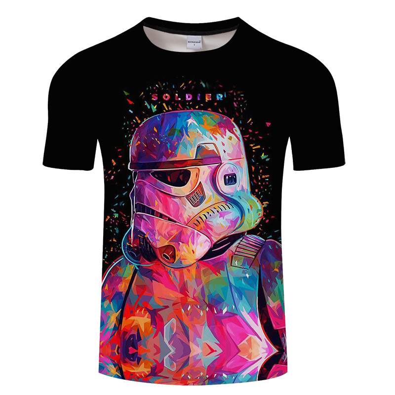 2018 New Camisetas Hombre Novelty Star Wars Men T-Shirts Tshirts 3D Print Tops O-Neck Sh ...