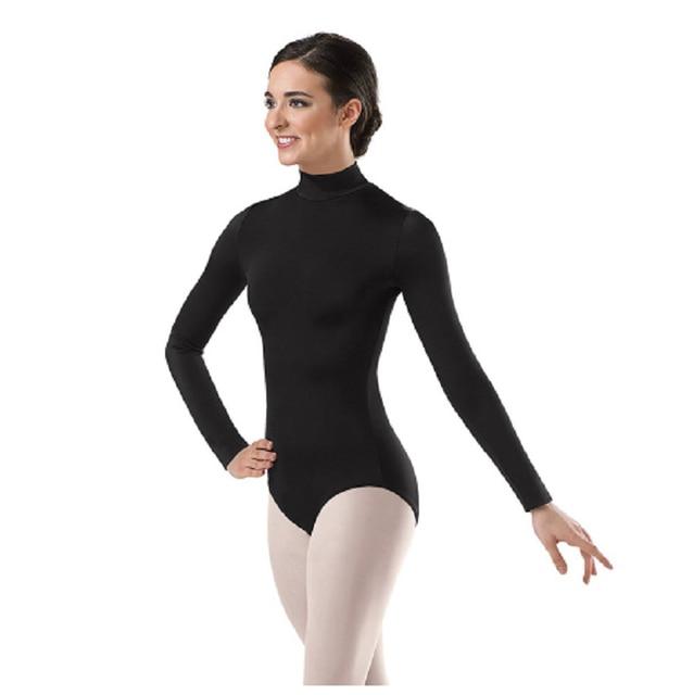 eb75bea2b Women Long Sleeve Black Leotard Turtleneck Ballet Dancewear Lycra ...