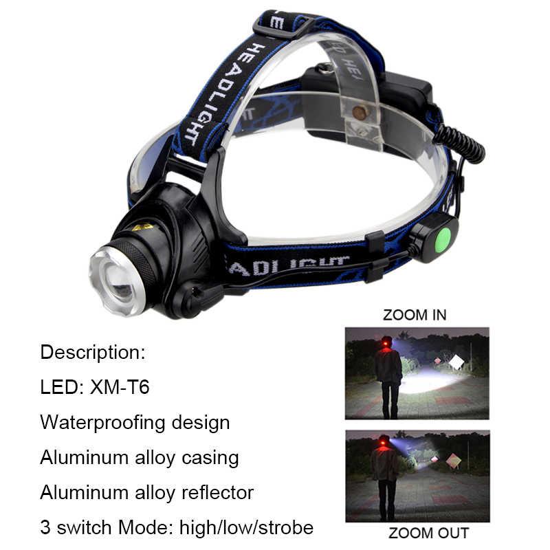 Linterna frontal LED telescópica XM-L T6 de 6000 lúmenes, linterna frontal de pesca recargable, linterna para la frente + coche/CA/cargador + Cable USB + 2x18650