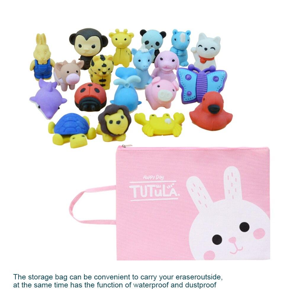 Cute Cartoon Animal Erasers Set With Storage Bag,Removable Assembly Diy Cartoon Eraser,Kids Children Toy Student School Supplies