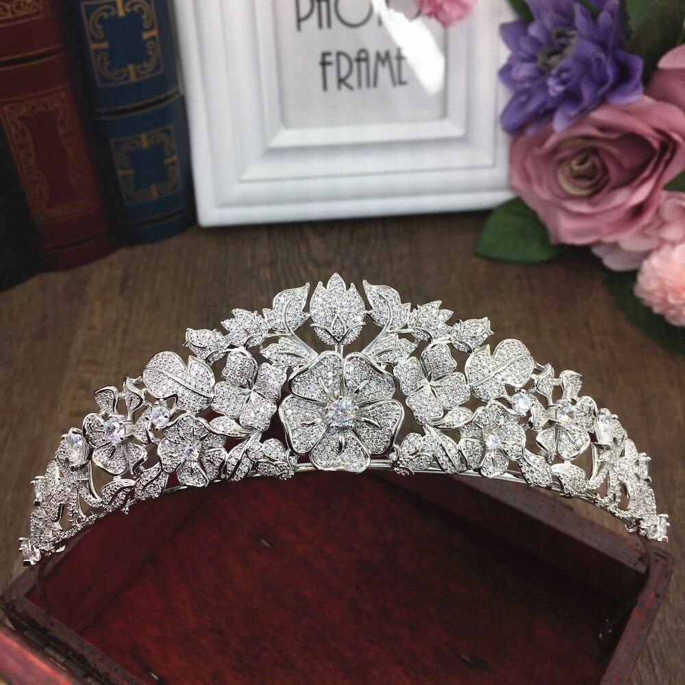 Betonowa pełna Cubic cyrkon Tiara cyrkonia księżniczka korona CZ Coroa ślubne akcesoria do włosów dla nowożeńców biżuteria Bijoux Cheveux WIGO1294 w Biżuteria do włosów od Biżuteria i akcesoria na  Grupa 1