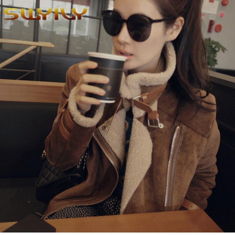 Women winter wool coat Fur collar Suede jacket women windbreaker Outwear Motorcycle Jacket Femme Hiver Manteau Invierno Abrigos