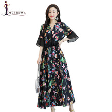цены на S-4XL Chiffon Dress Female 2018 Summer New Print Bohemia Canonicals Short Sleeve Flounce V-neck Seaside Resort Beach Dress NO177  в интернет-магазинах