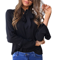 2017 Women Fashion Bow Tie Turtleneck Solid Shirts Long Sleeve Loose Blouse Ladies Casual Brand Tops