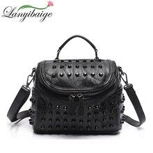 ファッション女性のメッセンジャーバッグ黒リベット本革ショルダーバッグメインクロスボディバッグ女性デザイナーハンドバッグ
