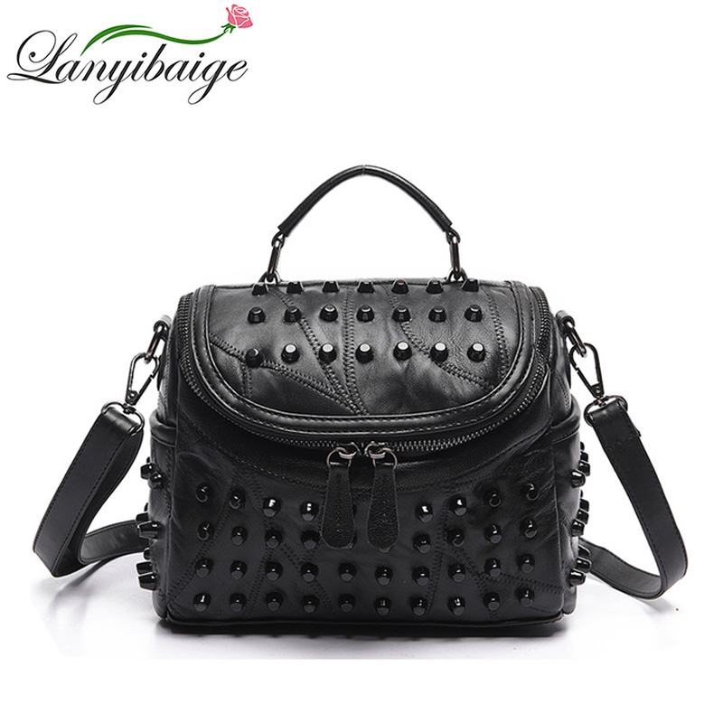 Fashion Women Messenger Bags Black Rivet Genuine Leather Shoulder Bag Sac a Main Crossbody Bags For Women Designer Handbags vintage handbags clutch retro women messenger bags panelled box bag rivet crossbody shoulder bags small handbag purse sac a main