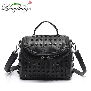 Image 1 - Fashion Women Messenger Bags Black Rivet Genuine Leather Shoulder Bag Sac a Main Crossbody Bags For Women Designer Handbags