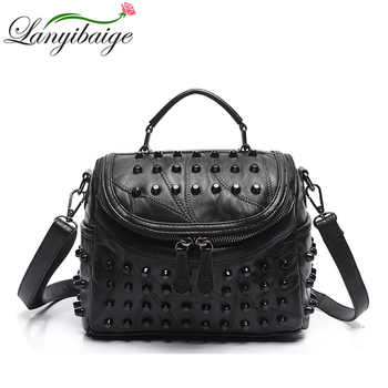 Fashion Women Messenger Bags Black Rivet Genuine Leather Shoulder Bag Sac a Main Crossbody Bags For Women Designer Handbags - DISCOUNT ITEM  37 OFF All Category