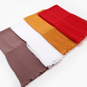Image 4 - New long scarf Patchwork Popular bubble chiffon Scarf Wrinkle hijab pearl Pleat Scarf stitching Muffler muslim scarves