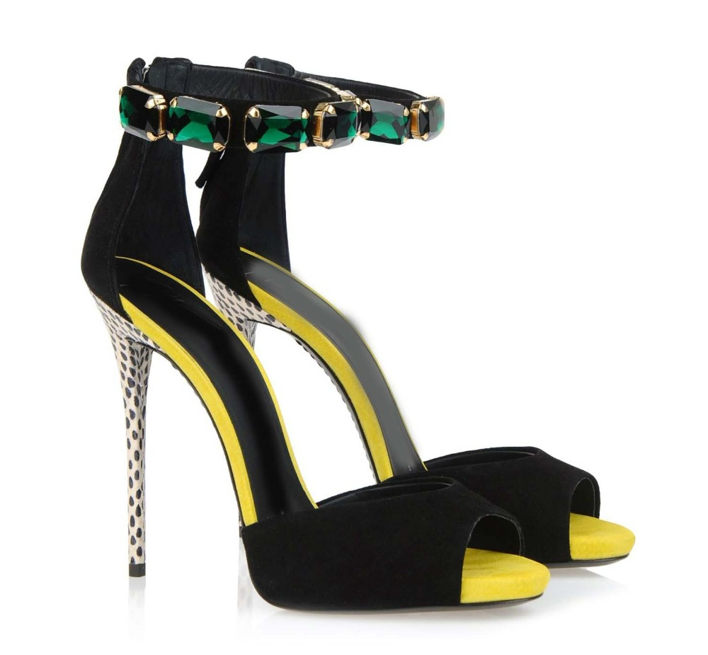 Rhinestone Gamuza Verano 1 Gladiador Tacón Bling Mujeres Zapatos Marca Mujer Alto Sandalias Cubierta Bombas De nRUT4R
