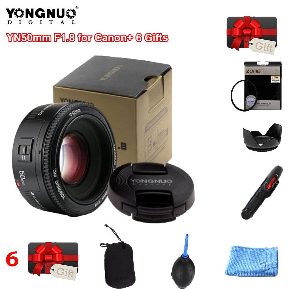 Оригинальный объектив YONGNUO YN50 мм 50 мм F1.8 объектив камеры для Canon для Nikon DLSR объектив камеры