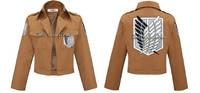 Free shipping Attack on Titan Shingeki no Kyojin Jacket for Eren Ackerman Levi Armin Coat Cosplay costume scouting legion jacket