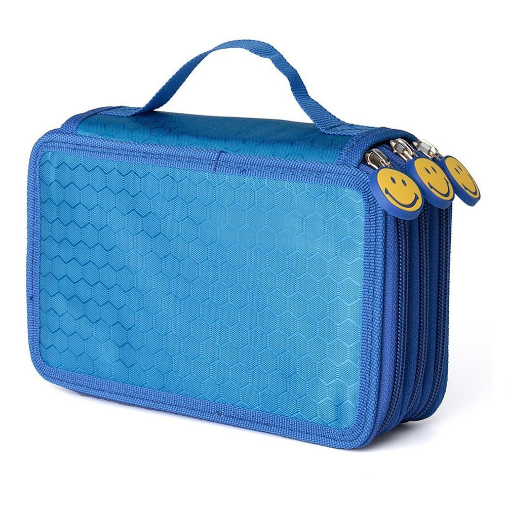 Student Pen Pencil Case 3 Layer Oxford Brush Holder Makeup Pouch Storage Bag Blue цена