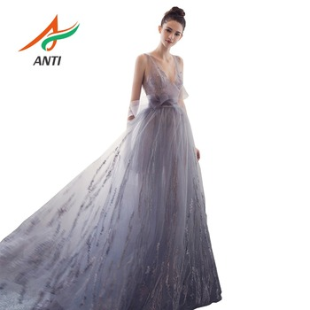 ANTI Lavender purpler Evening Dresses 2019 Sexy Backless V-neck Sleeveless Formal Pearls Embroidery Party Long Gowns With Bow