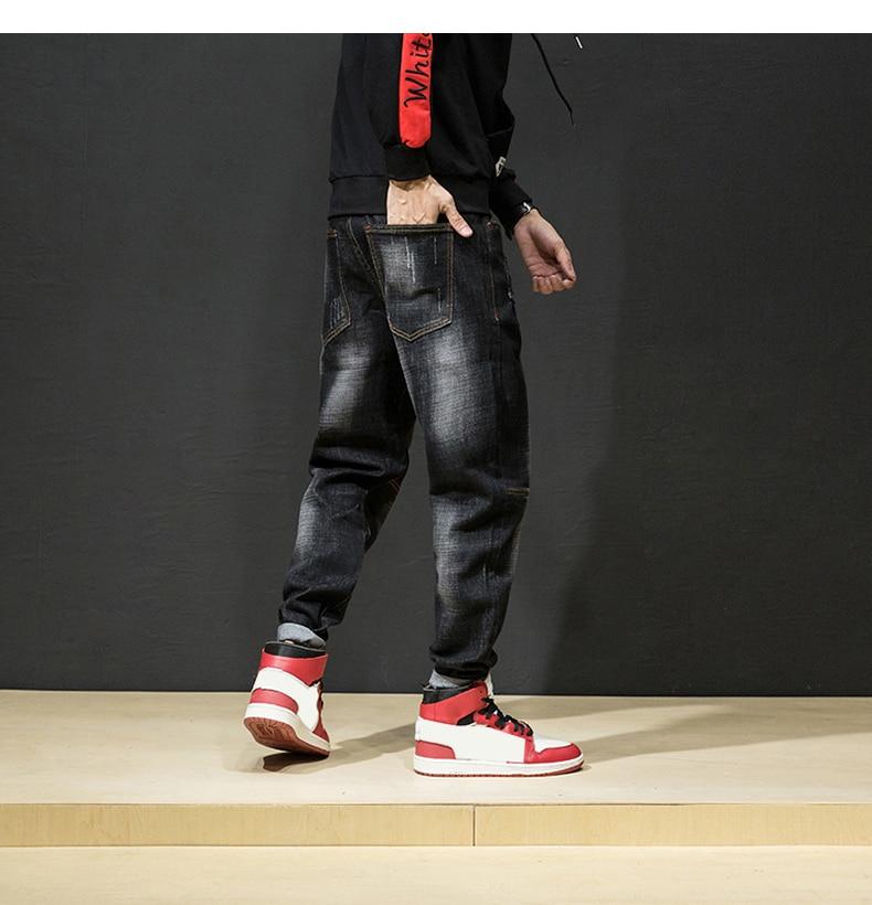 KSTUN Ripped Jeans for Men Haren Pants Loose Wide Leg Cotton Streetwear Hiphop Mens Jeans Black 2018 Clothes Large Size 42 15