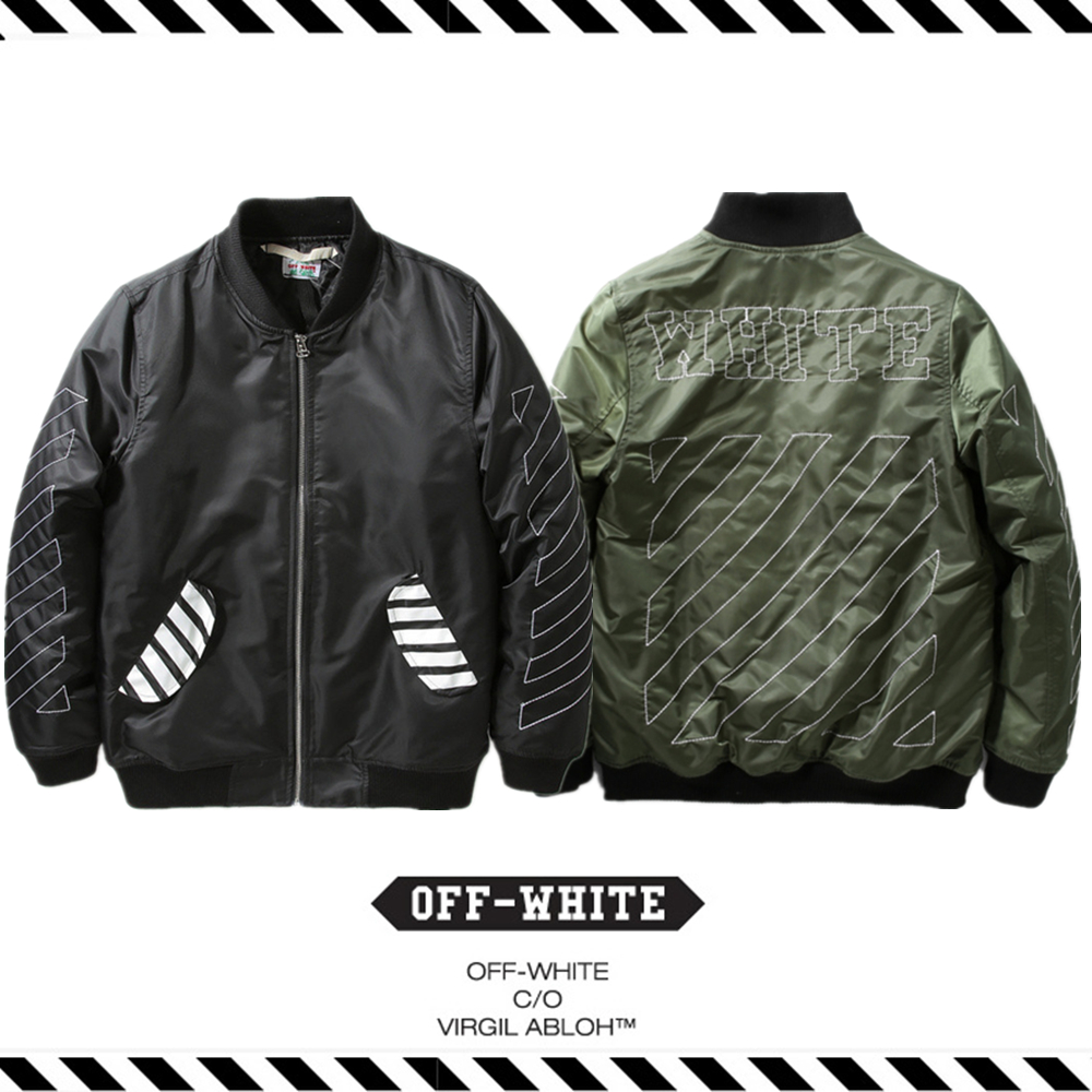 Best Version New Arrival 2016 Fall Winter Off White Thick Warm Cotton Padded Jacket Hip Hop